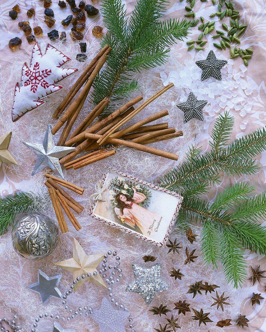 Christmas decoration with cinnamon sticks, star anise, rock sugar and cardamom
