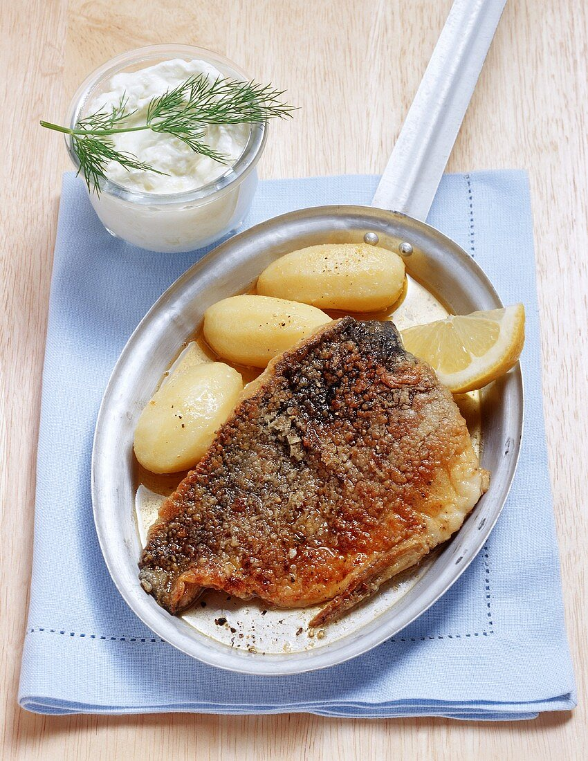 Nuremberg carp (marinated in beer) with creamed horseradish and salted potatoes