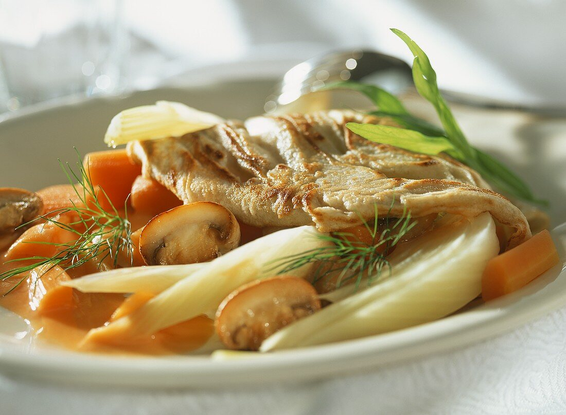 Buckwheat crepes filled with vegetable ragout