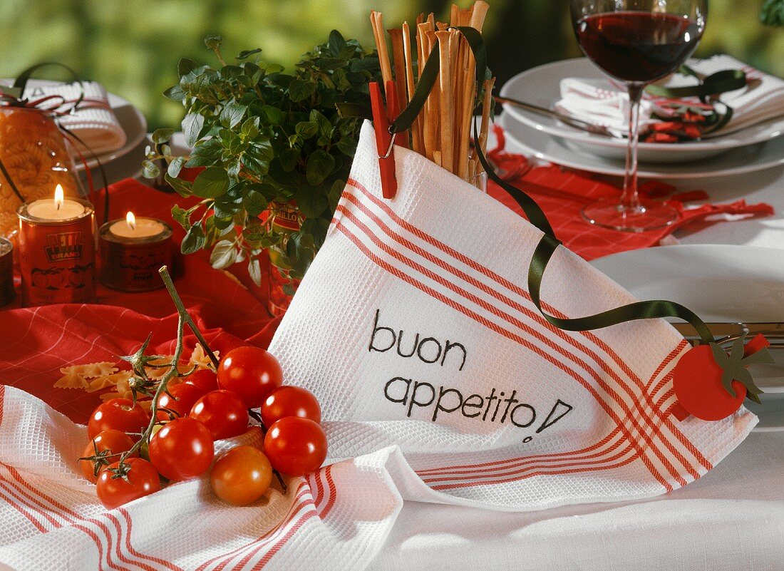 Table laid for Italian meal