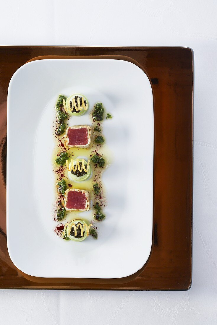 Bavarian style sushi with tuna and cucumber