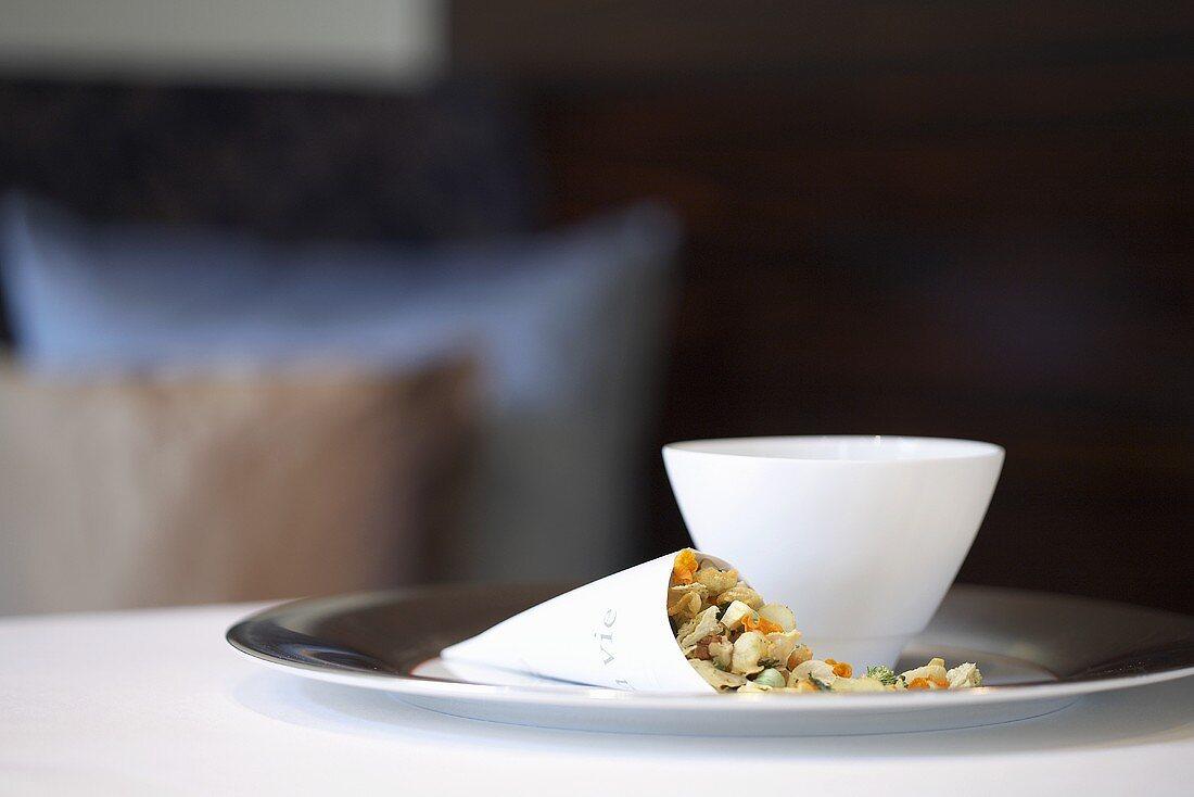 Vegetable muesli and a milk bowl
