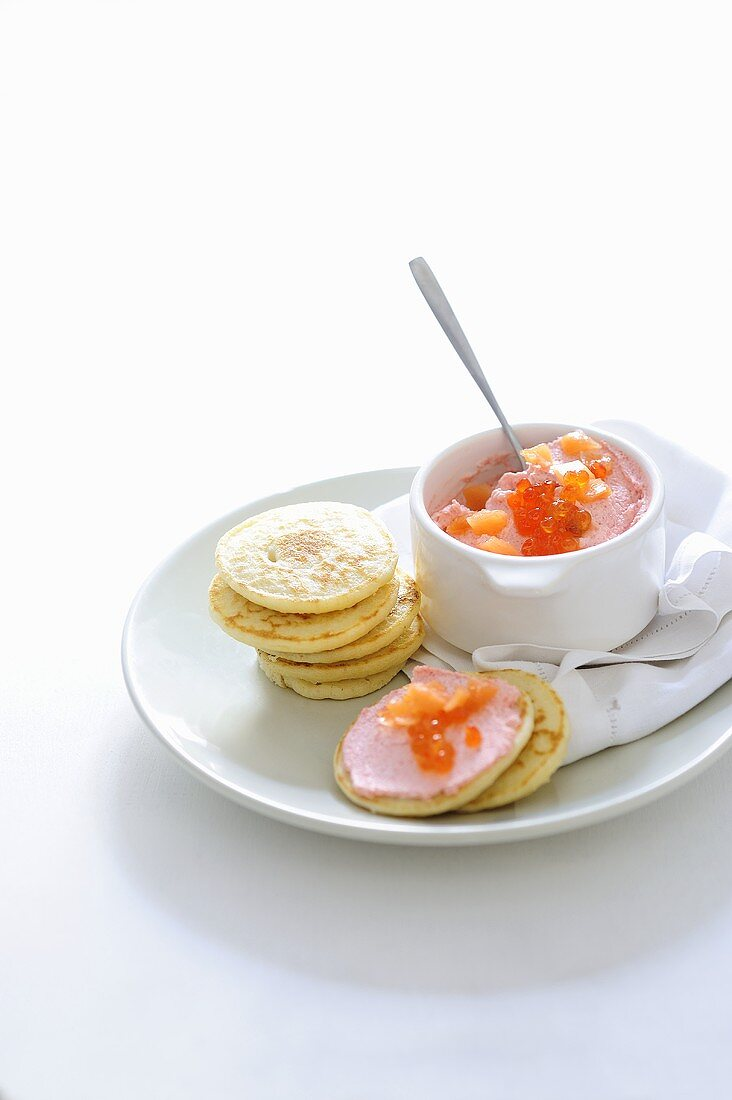 Blinis with tarama paste