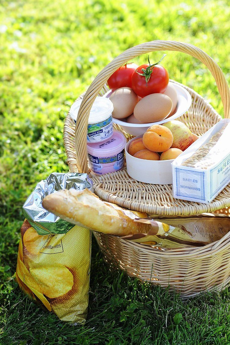 Picnic basket filled with fruit, eggs, cream cheese, baguette, etc