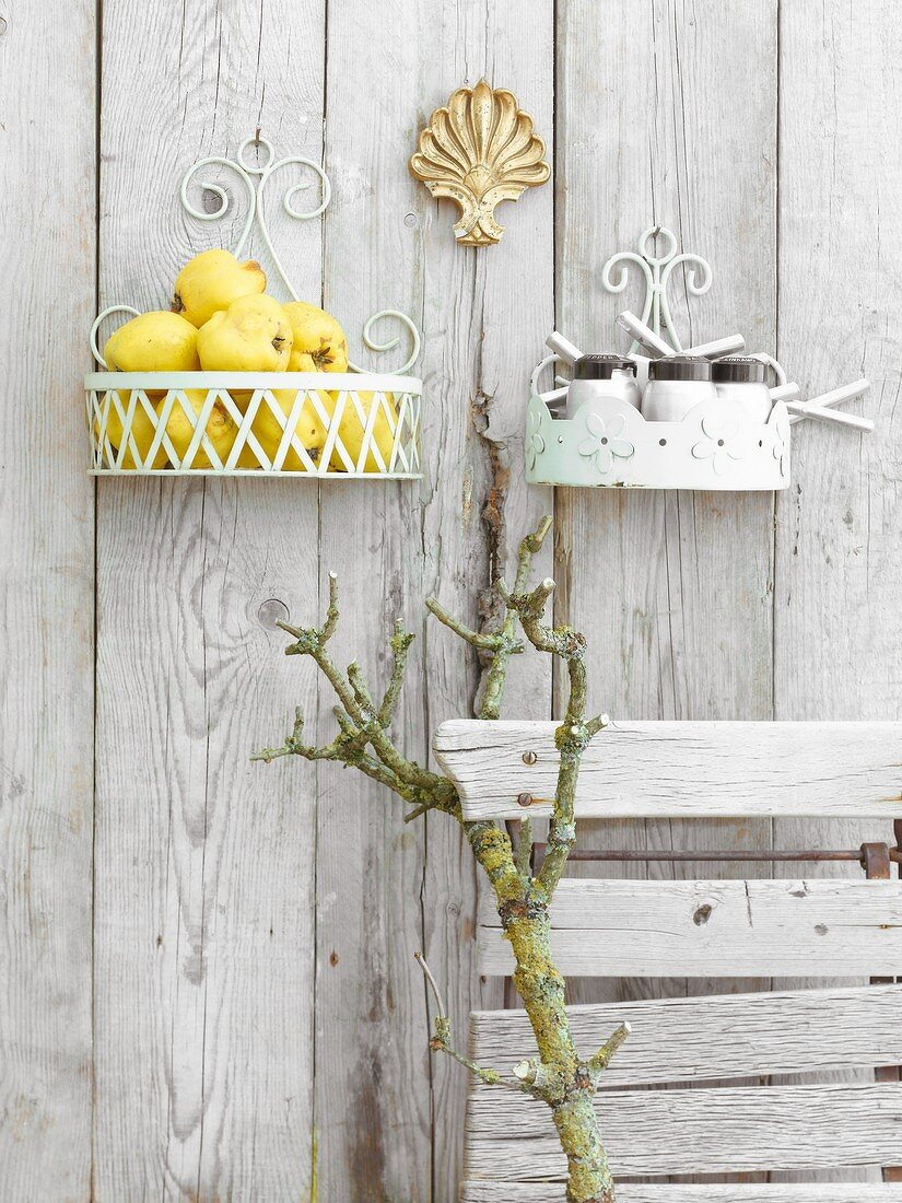 Quinces in a wall basket