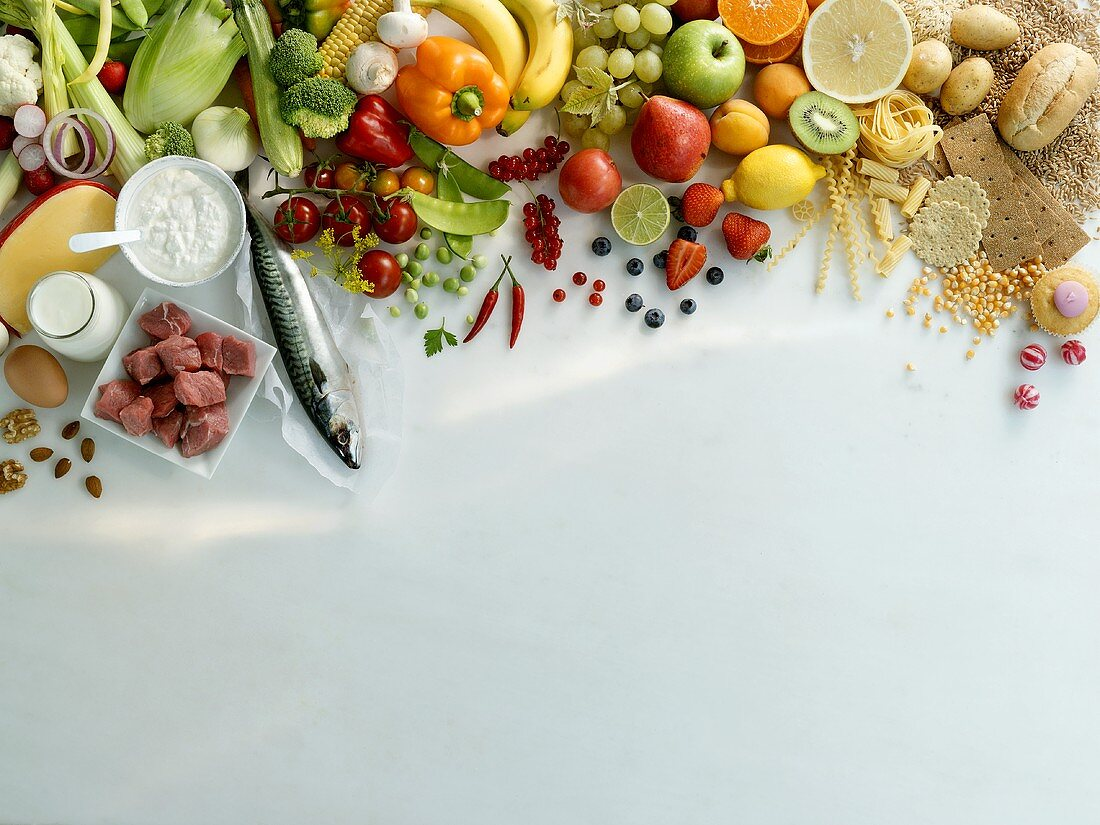 Fruit, vegetables, high protein and carbohydrate foods