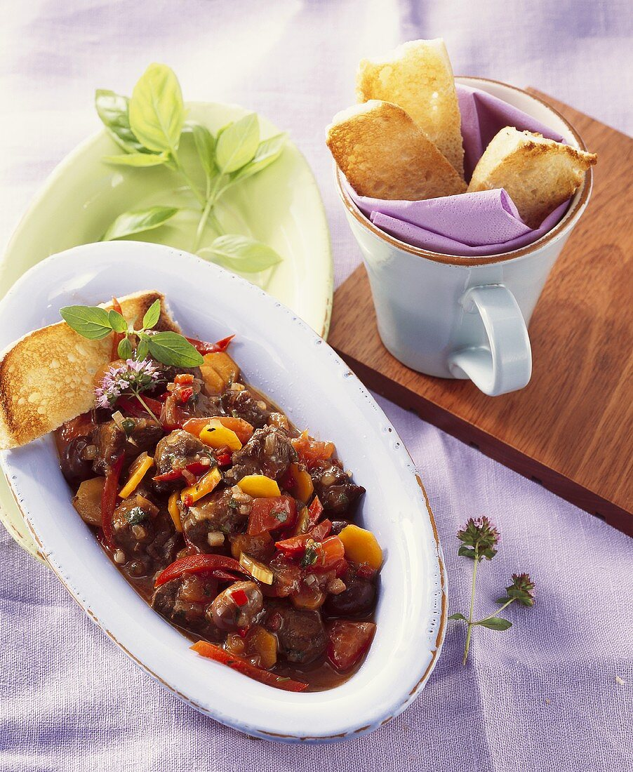 Kangaroo stew with toast