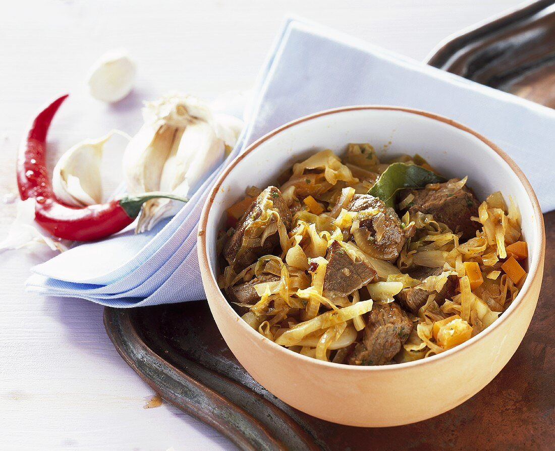 Cabbage and lamb stew
