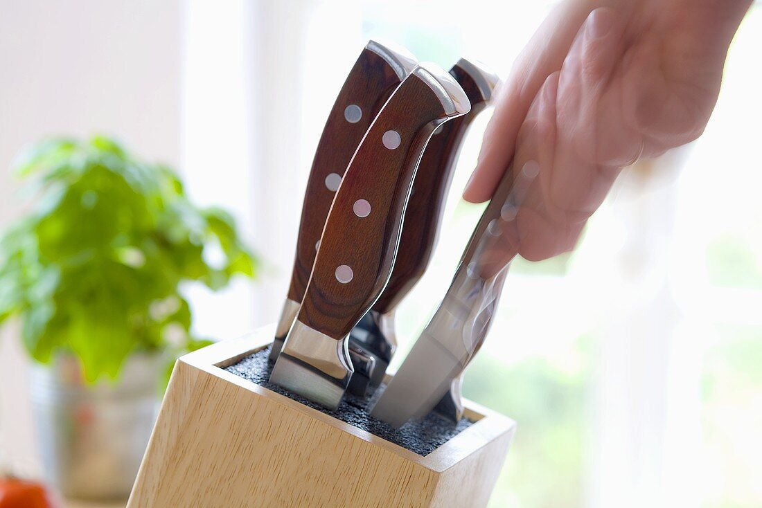 Hand taking a knife from a knife block