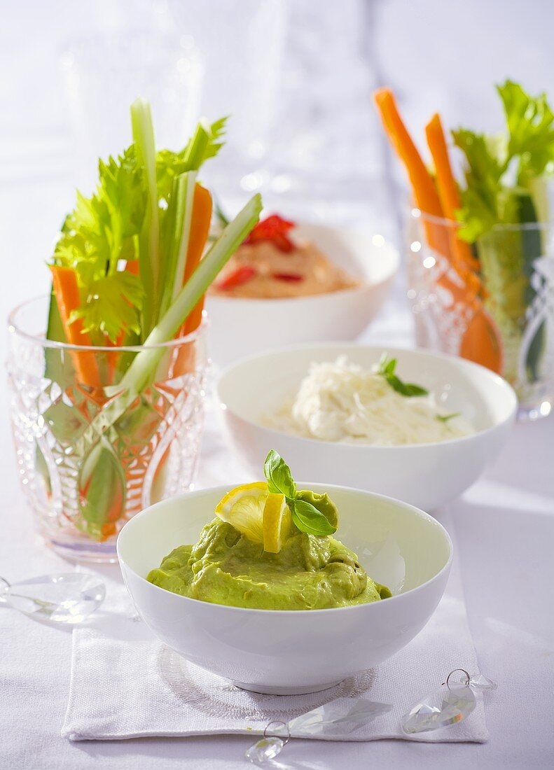 Vegetable sticks with guacamole, soft cheese dip & pepper dip