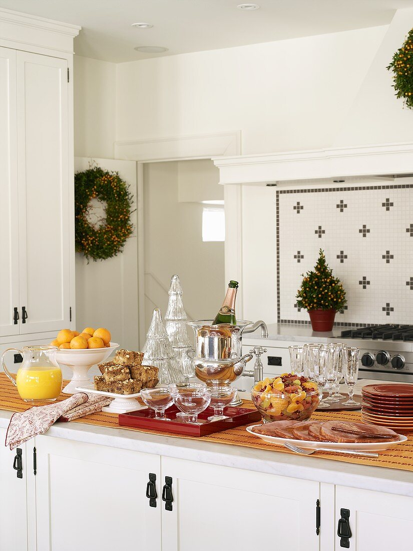 Christmas brunch in a kitchen