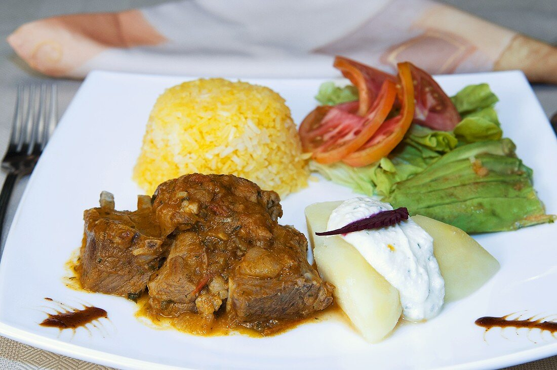 Seco de chivo (Goat stew with rice, Ecuador)
