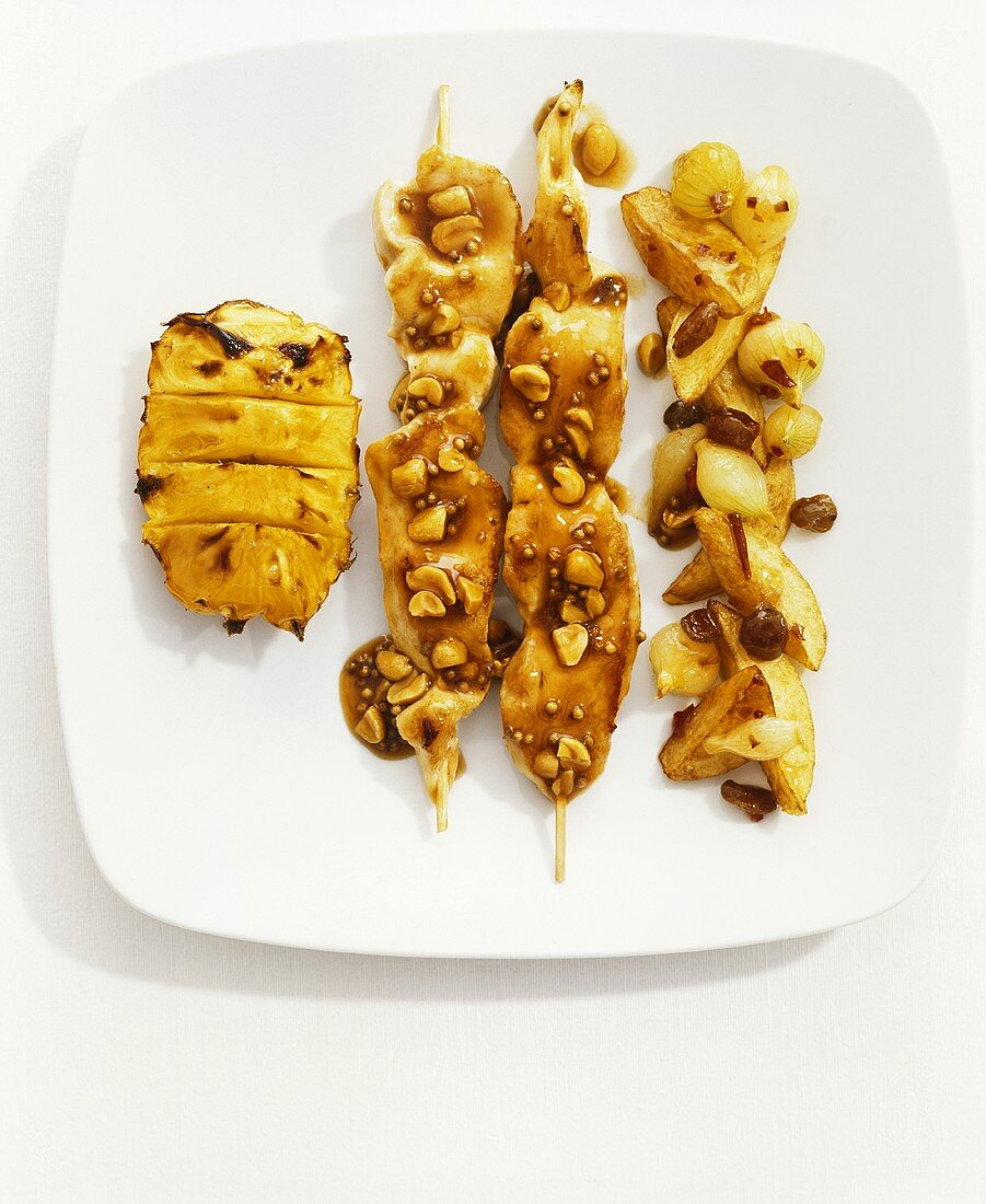 Satay with peanut and coriander sauce