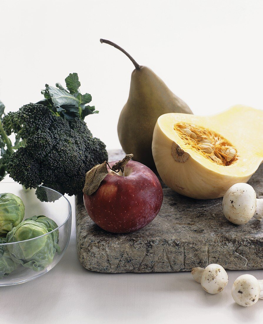 Still life with autumn vegetables and fruit