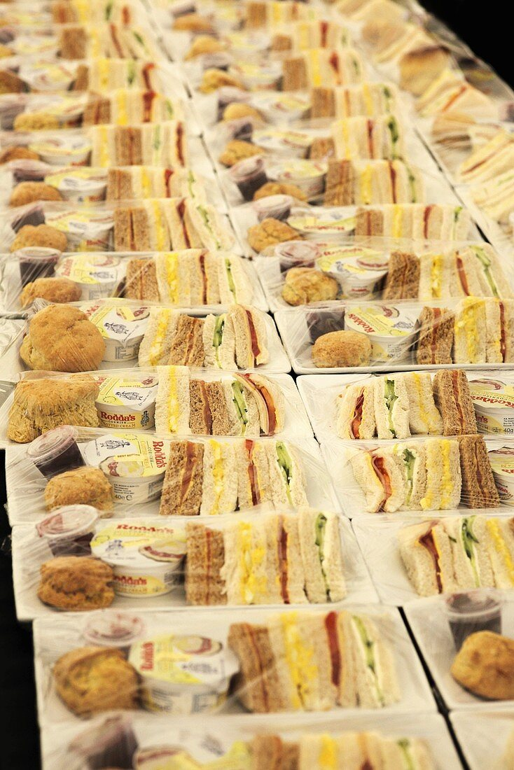 Lots of packaged airline meals