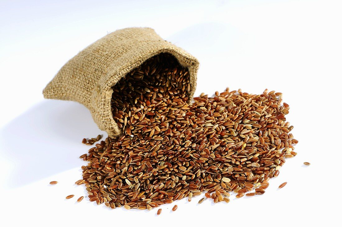 Camargue rice in a hessian sack