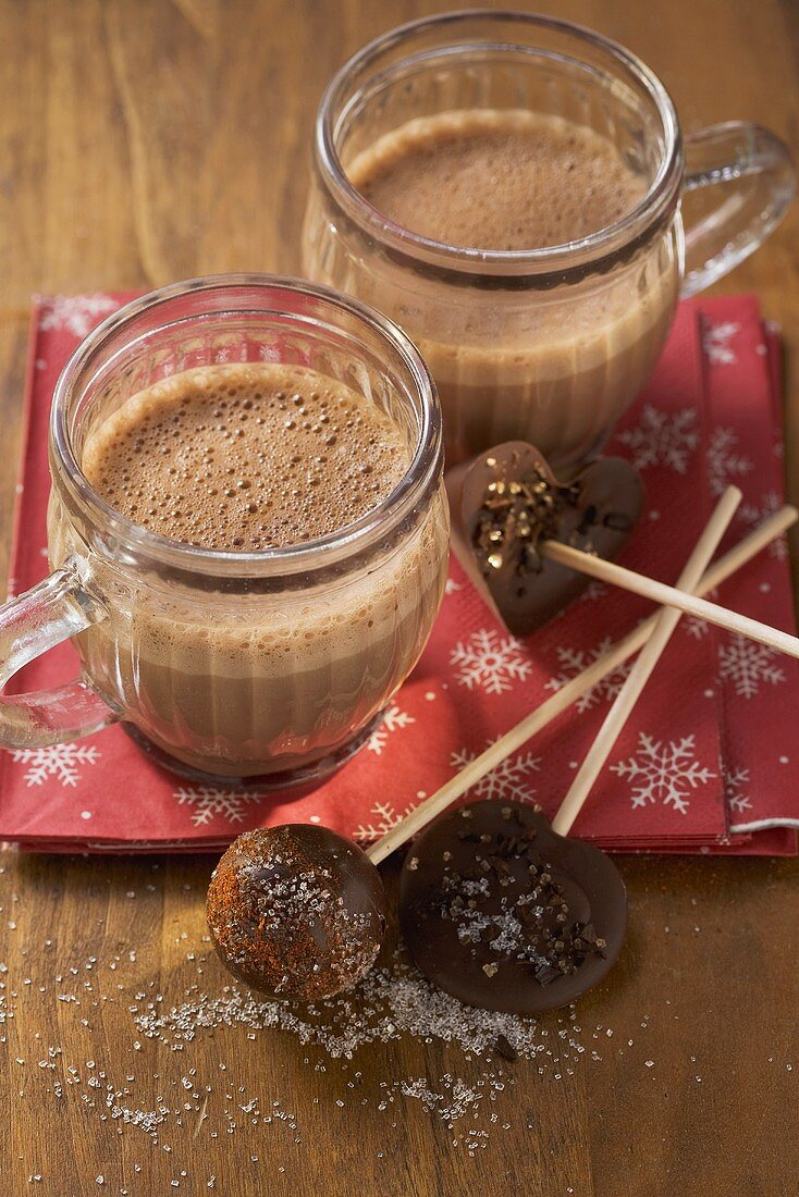 Hot chocolate and chocolate lollies