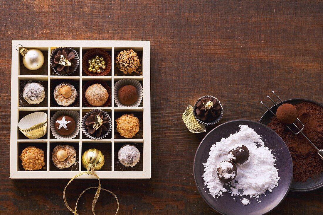 Home-made chocolate truffles