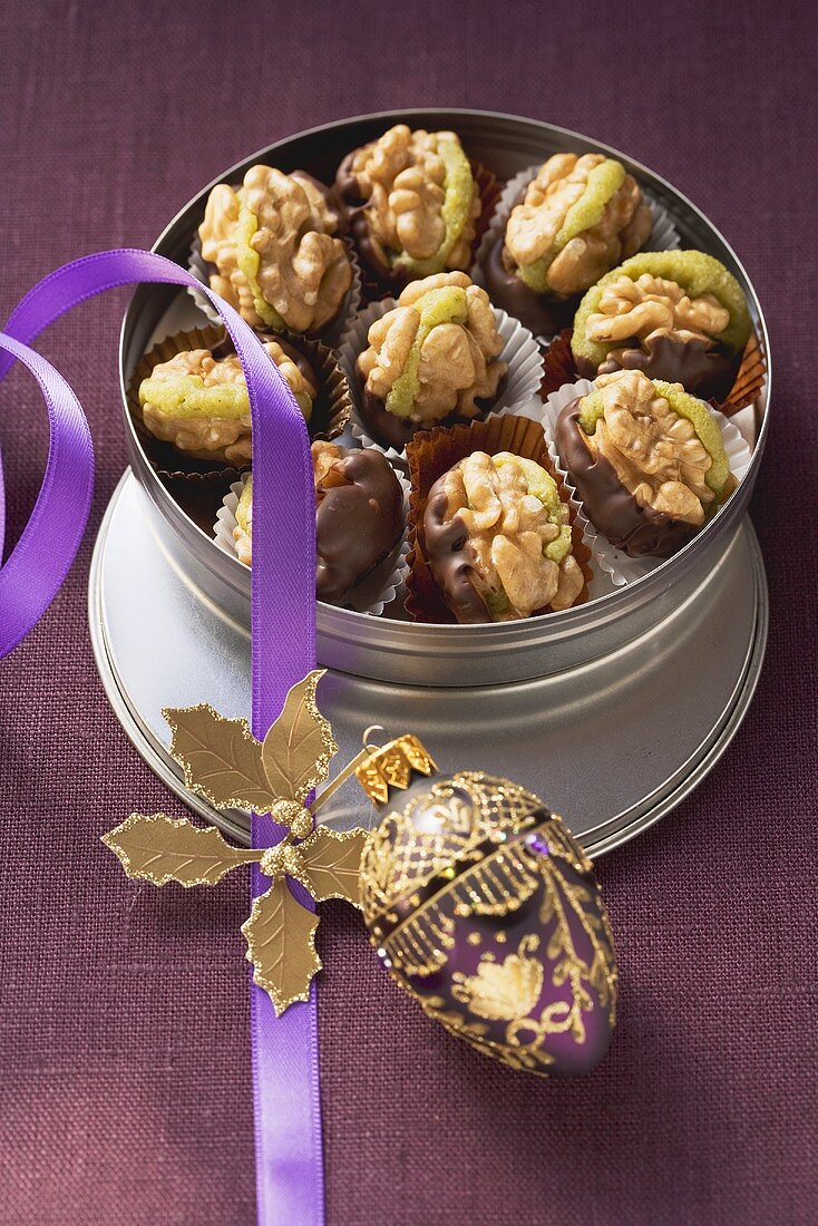 Walnut and chocolate confectionary with marzipan