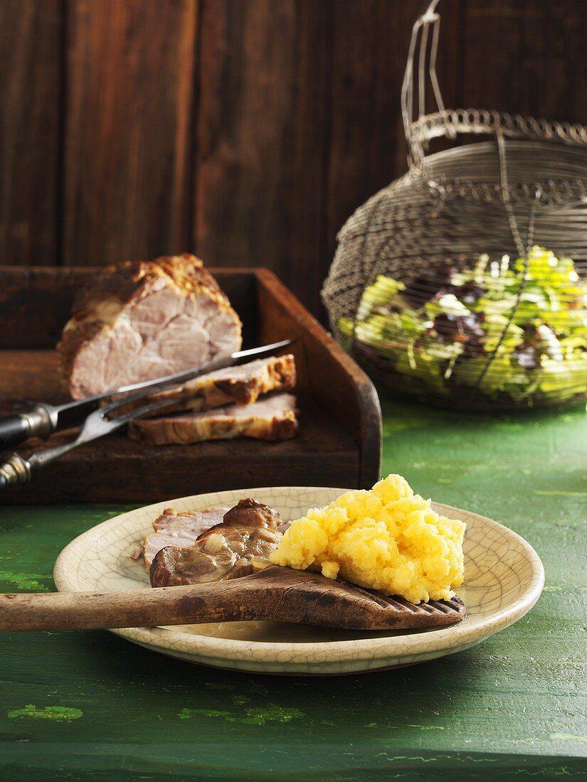 Pork collar with turnip puree