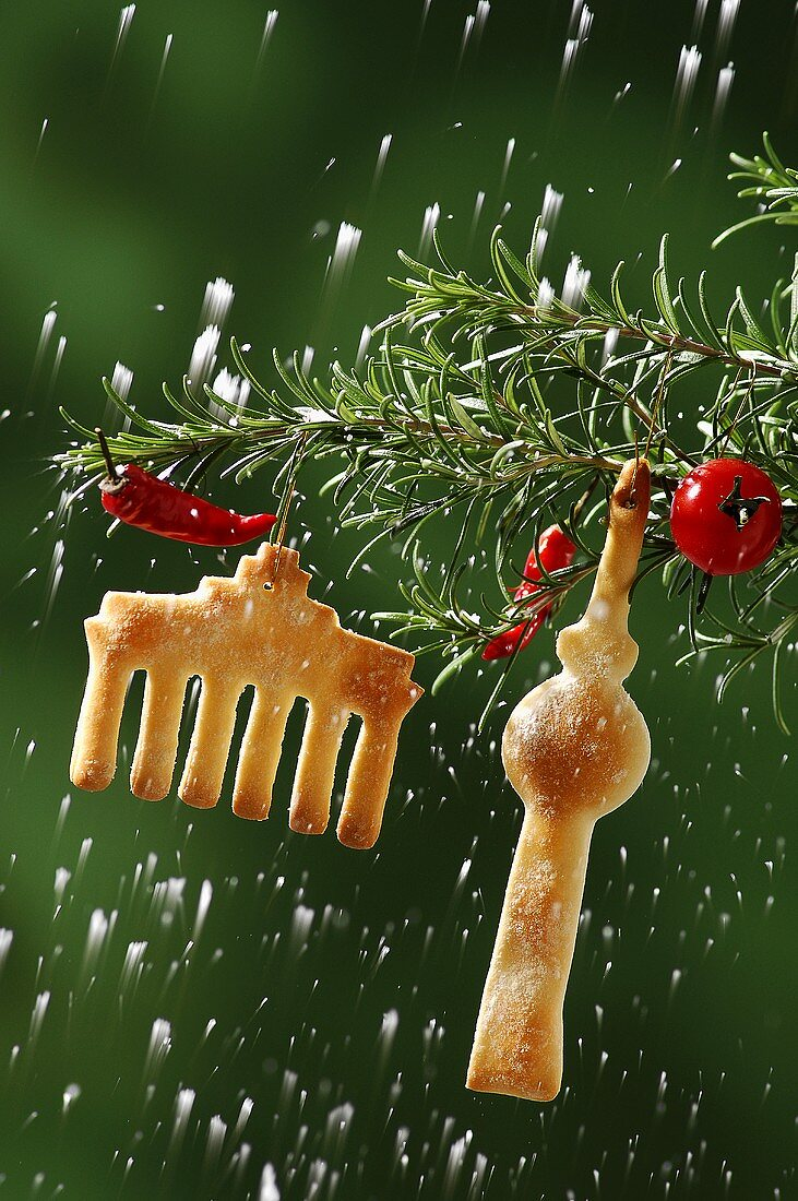 Christmas biscuits on a pine branch