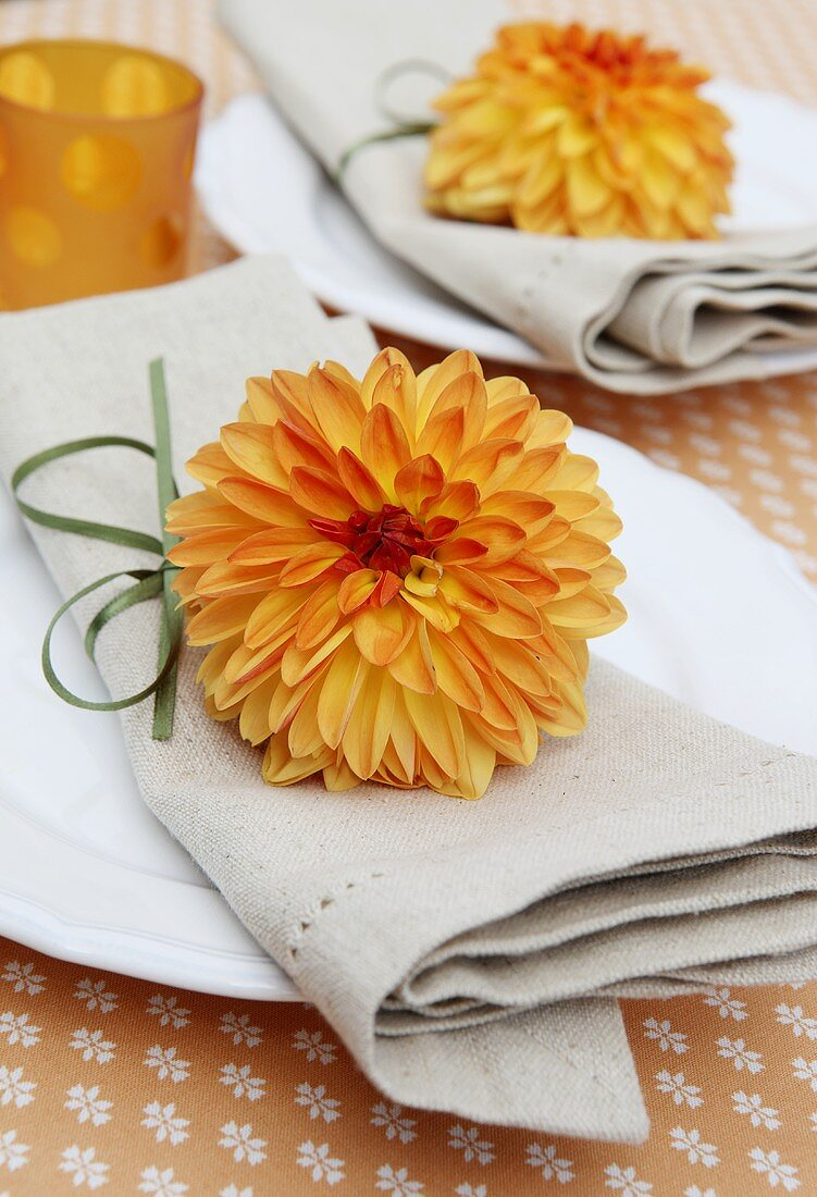 Place setting with fabric serviettes and dahlias