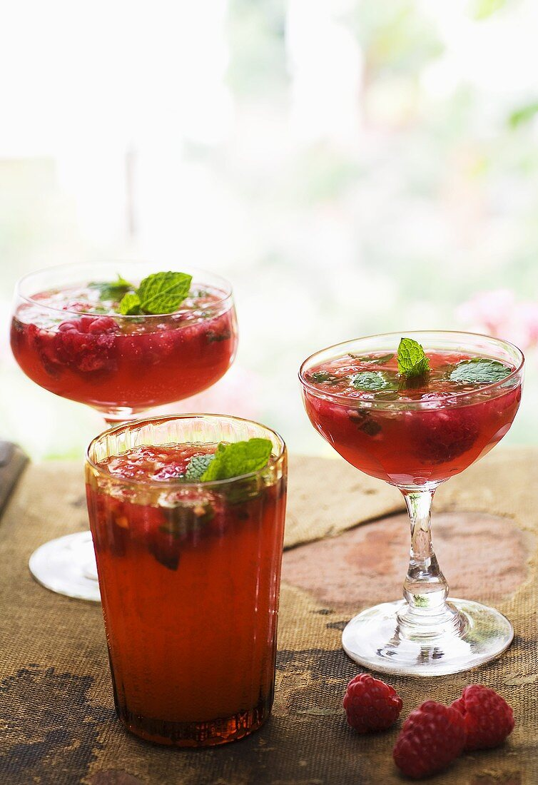 Raspberry and vodka cocktails