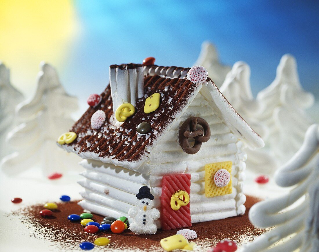 Meringue house with a brown roof