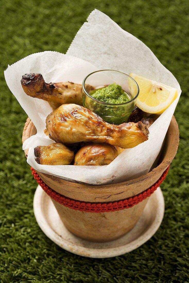 Chicken legs with salsa verde