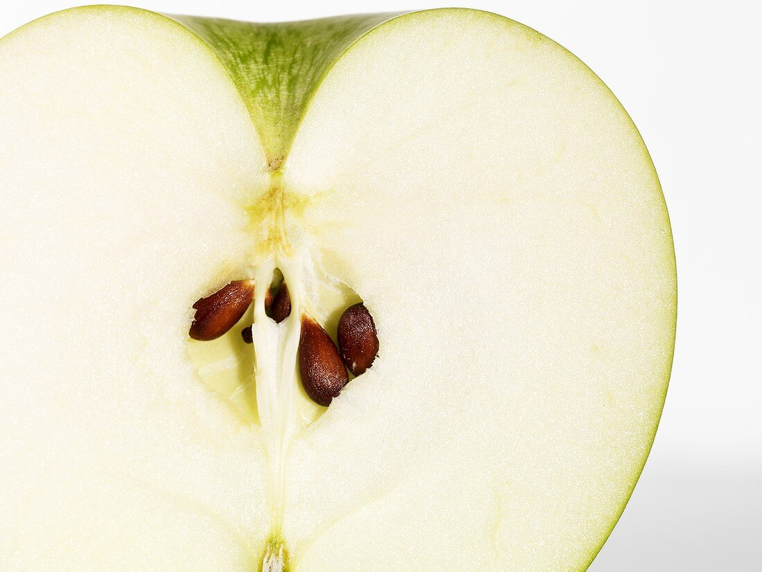 Half a green apple (close up)
