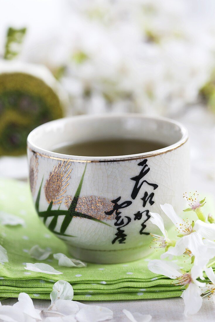 Green tea in a drinking bowl