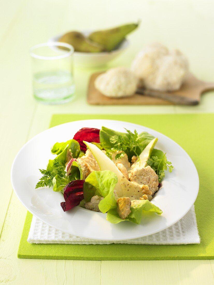 Herbstsalat mit Pilzbratlingen