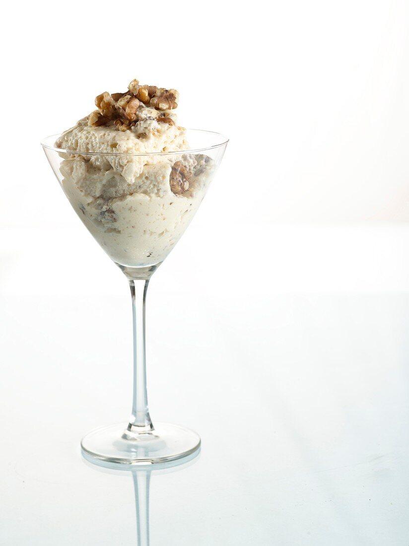 Frozen nougat terrine with walnuts