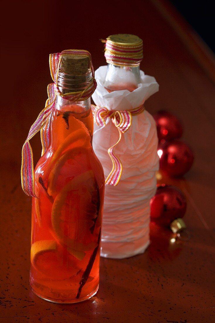 Homemade blood orange liqueur