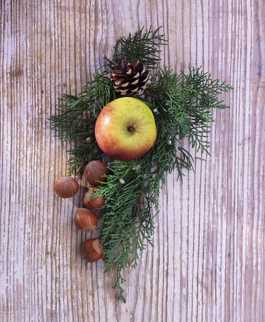 A juniper sprig with winter apples and hazelnuts on a wooden surface
