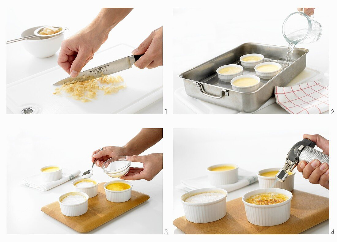 Creme brulee with ginger being prepared