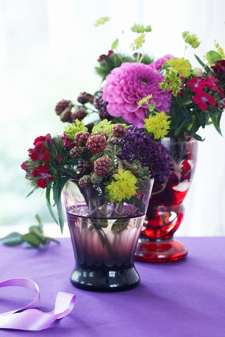 Autumnal bouquets in two vases