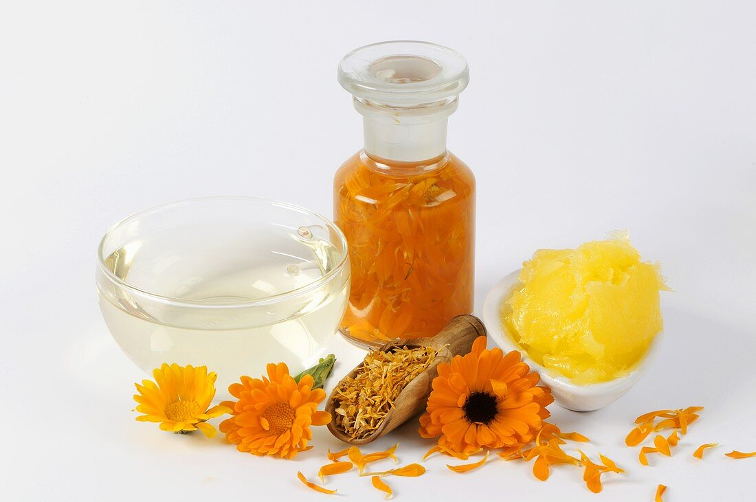 Marigold tea, tincture and ointment