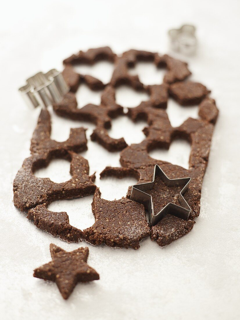 Basler Brunsli (Swiss Christmas biscuits) being cut out