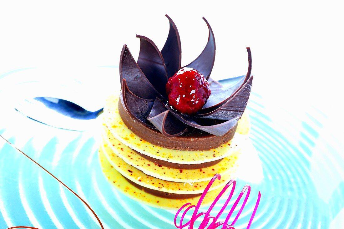 Layered white and dark chocolate dessert with Grand Marnier