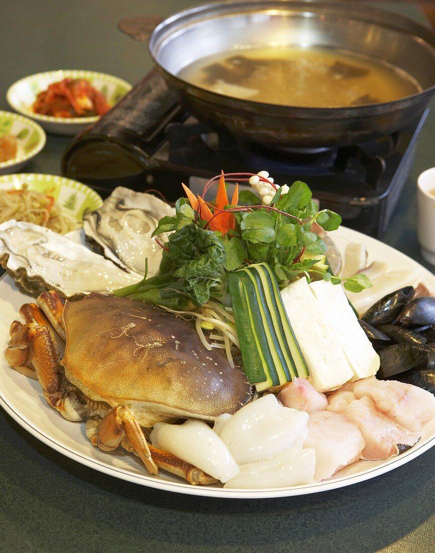 Asian seafood fondue