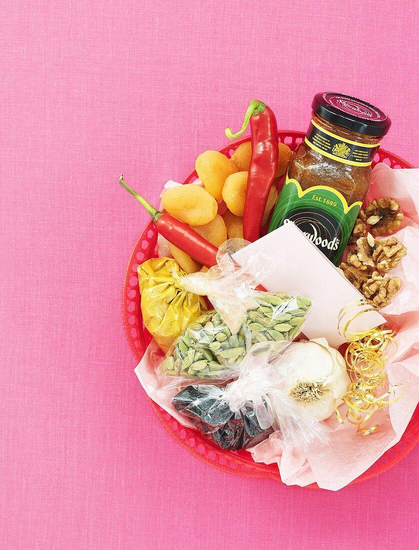 Gift basket of Asian cooking ingredients