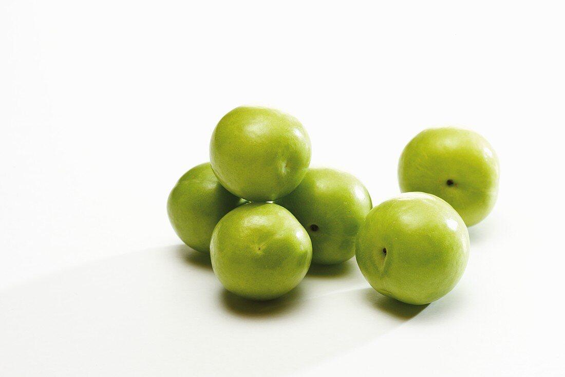 Mehrere grüne Pflaumen (Sorte Canerik, türkische Pflaumen)