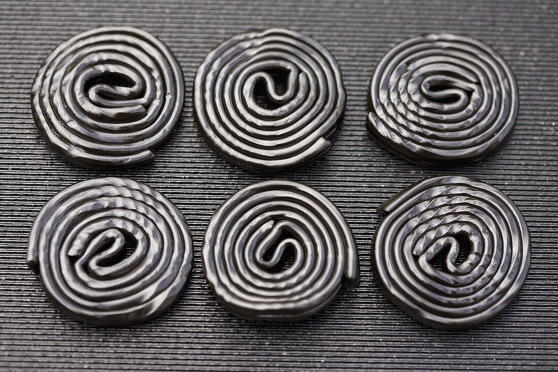 Six liquorice wheels