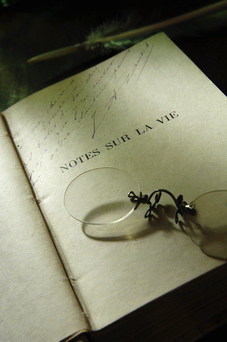 Book with pince-nez, Alphonse Daudet Museum (Ardèche, France)