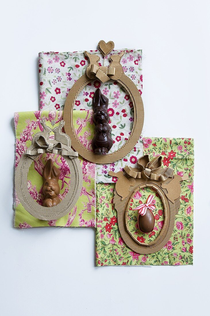 Easter decorations on patterned fabrics