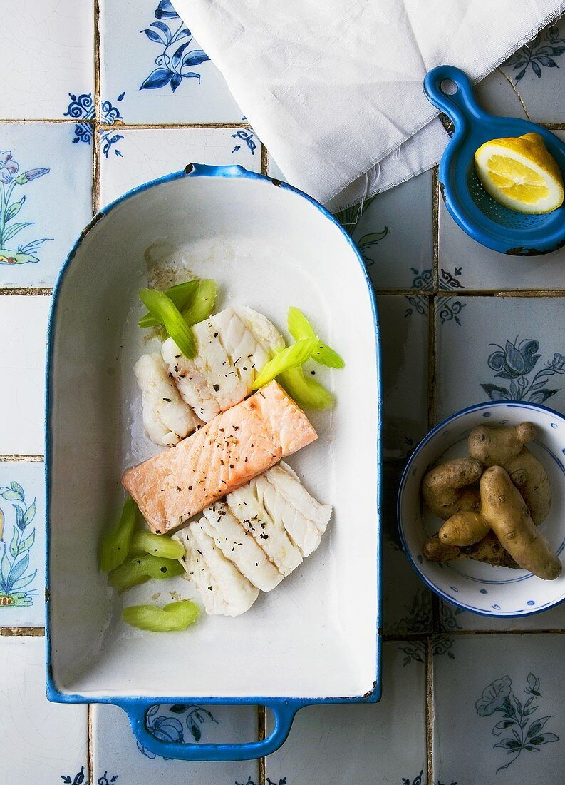 Salmon and turbot with celery, Bamberger Hörnchen potatoes