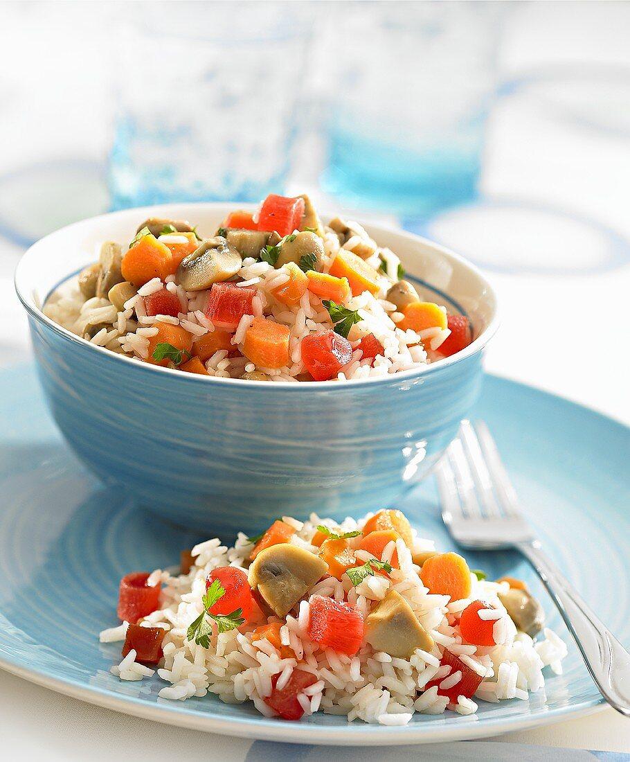 Rice salad with papaya and mushrooms