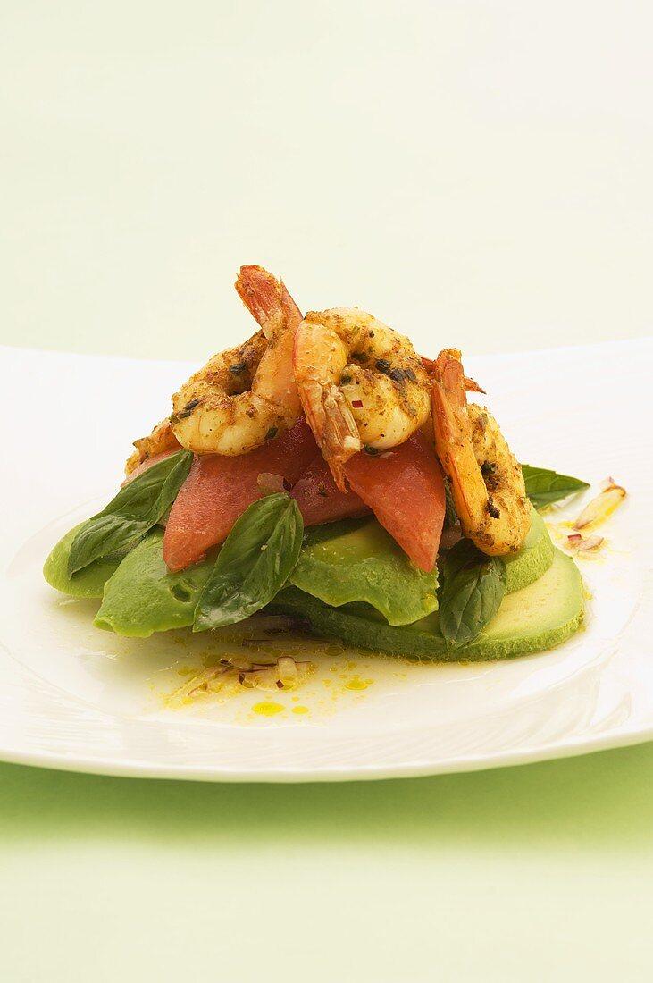 Spicy prawns on tomato and avocado