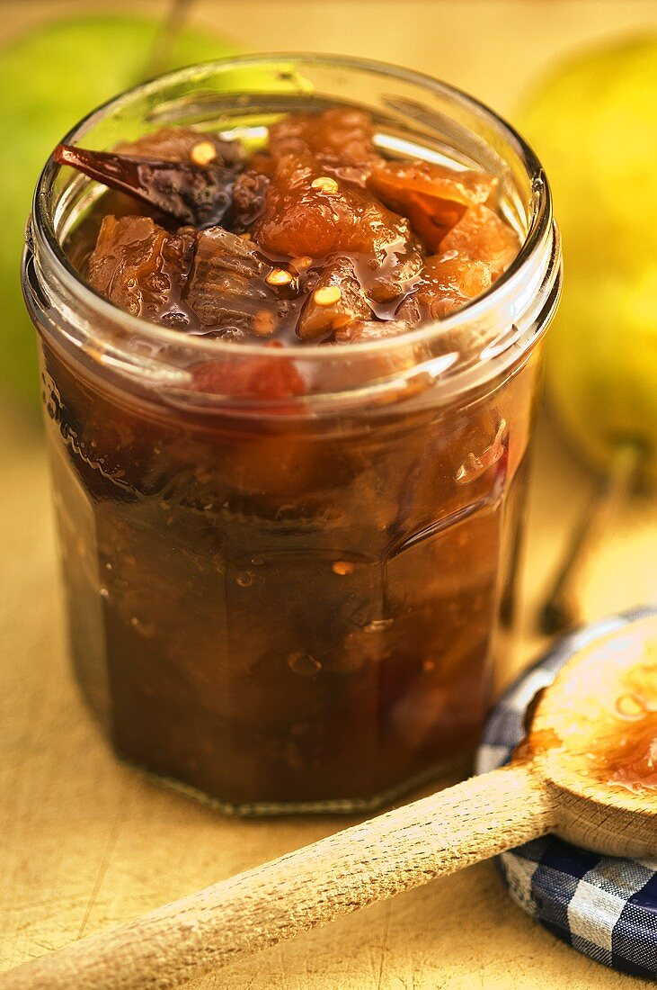 Apple and pear chutney in jar